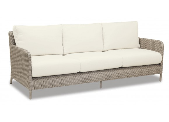Manhattan Wicker Sofa With Cushions In Linen Canvas With Self Welt