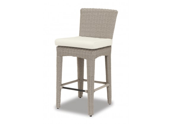 Manhattan Wicker Barstool With Cushions In Linen Canvas With Self Welt