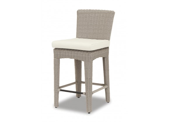 Manhattan Wicker Counter Stool With Cushions In Linen Canvas With Self Welt