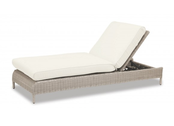 Manhattan Wicker Adjustable Chaise With Cushions In Linen Canvas With Self Welt