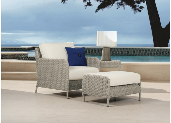 Manhattan Wicker Club Chair, Ottoman and End Table - Lifestyle