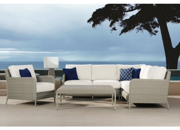 Sunset West Manhattan Wicker Loveseat with Club Chairs, Coffee Table and End Table