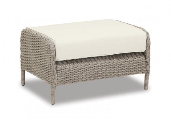 Manhattan Wicker Ottoman With Cushions In Linen Canvas With Self Welt