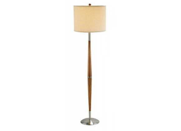 Adesso Hudson 61 Inch Elliptical Shaped Wooden Pole with Dark Maple Finish Floor Lamp with Shade