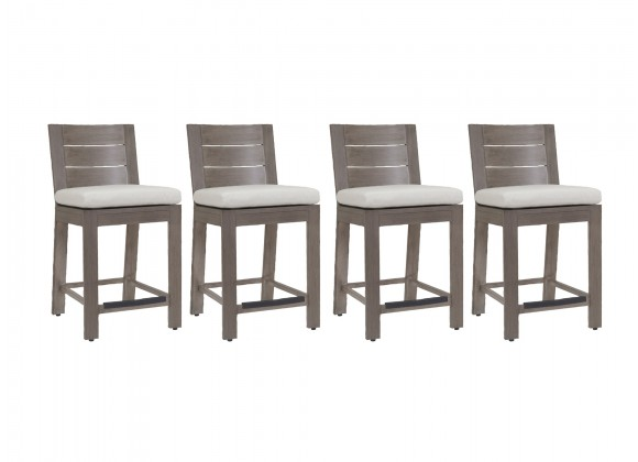 Laguna Counter Stool With Cushions In Canvas Flax - Set of 4