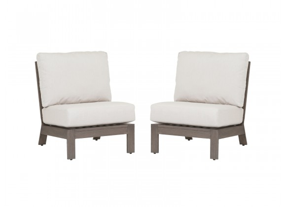 Laguna Aluminum Armless Club With Cushions In Canvas Flax - Set of 2