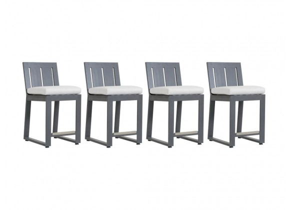 Redondo Barstool With Cushions In Cast Silver - Set of 4