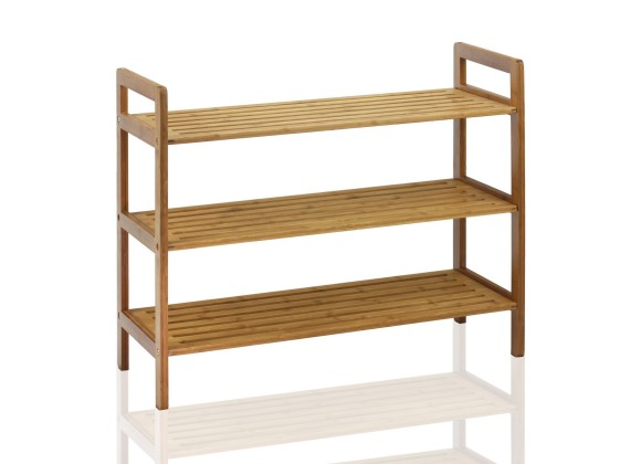 Oceanstar 3-Tier Bamboo Shoe Rack - Natural - Angled