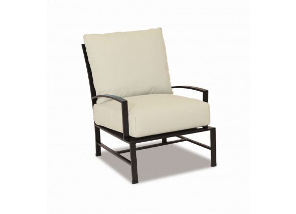 Sunset West La Jolla Aluminum Club Chair With Cushions In Canvas Flax With Self Welt