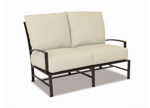 La Jolla Aluminum Loveseat With Cushions In Canvas Flax With Self Welt