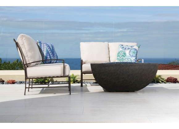 La Jolla Aluminum Loveseat With Cushions In Canvas Flax With Self Welt - Lifestyle
