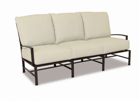 La Jolla Aluminum Sofa With Cushions In Canvas Flax With Self Welt