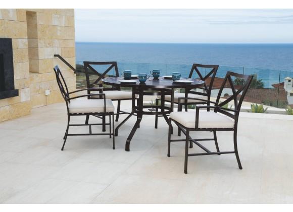 "La Jolla Aluminum 48"" Round Dining Table - Lifestyle in Set"