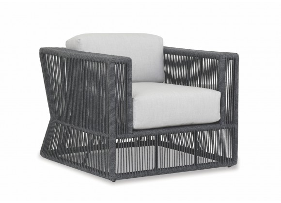 Milano Club Chair With Cushions In Echo Ash - Angled