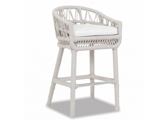 Dana Rope Bar Stool With Cushion in Linen Canvas