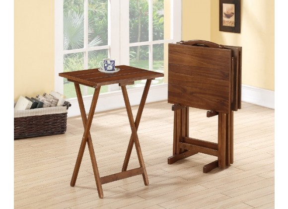 Linon Home Decor Acacia Tray Table Set