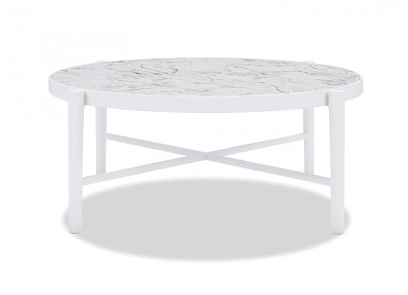 """Post Leg 40"""" Round Coffee Table Frost Finish with Honed Carrara top"""