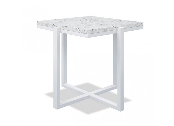 Square End Table With Honed Carrara Marble - Frost