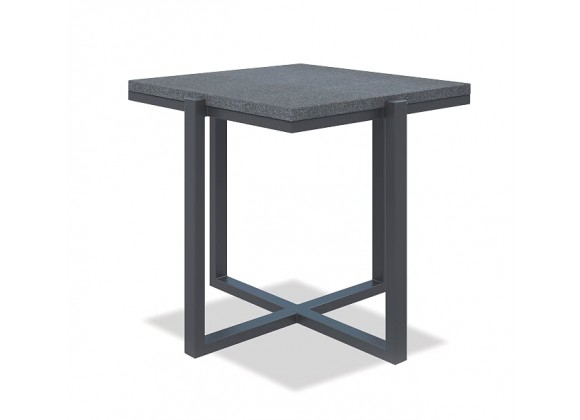 Square End Table with Honed Granite - Slate