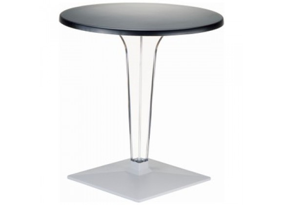 Ice Werzalit Top Round Dining Table with Transparent Base 32 inch Black