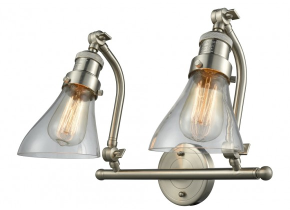 Double Swivel 2 Light Wall Bracket - CLEAR ANGLE GLASS