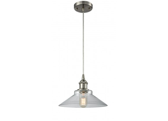 Glass Cord Pendant - Brushed Satin Nickel - CLEAR GLASS