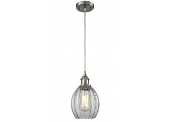 Glass Cord Pendant - Brushed Satin Nickel - CLEAR FLUTED GLASS