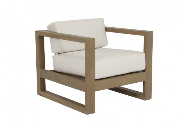 Sunset West Coastal Teak Club Chair With Cushions In Canvas - Angled