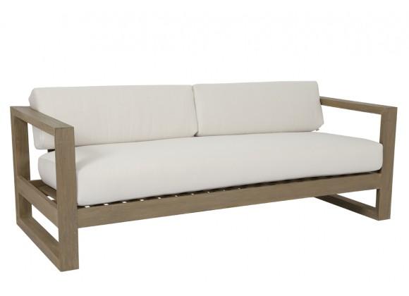 Sunset West Coastal Teak Sofa With Cushions In Canvas - Angled