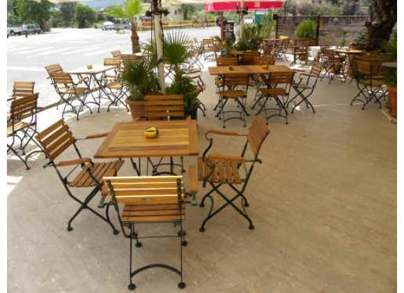 Furniture Designhouse French Café Bistro Folding Armchair W/ European Chestnut Wood Slats - Set of 2