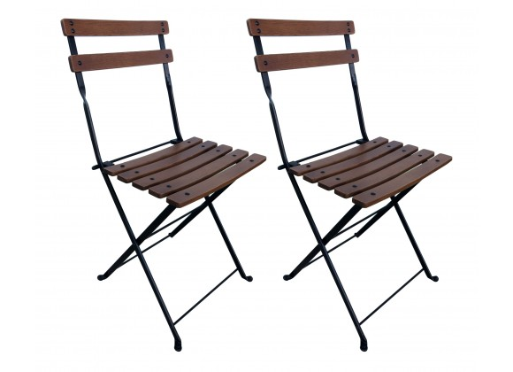 French Café Bistro Folding Side Chair W/ European Chestnut Wood Slats