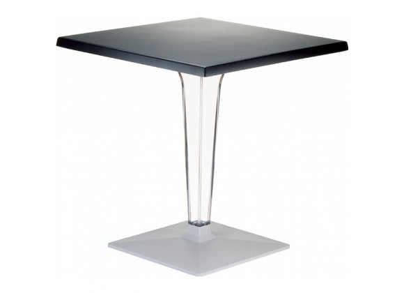Ice Werzalit Top Square Dining Table with Transparent Base 24 inch Black