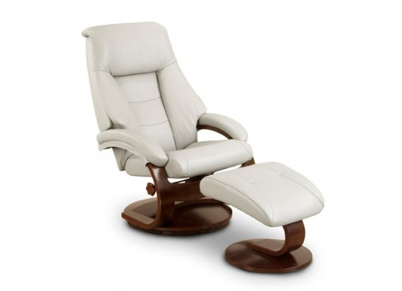 Mac Motion Putty (Grey) Top Grain Leather Swivel, Recliner with Ottoman