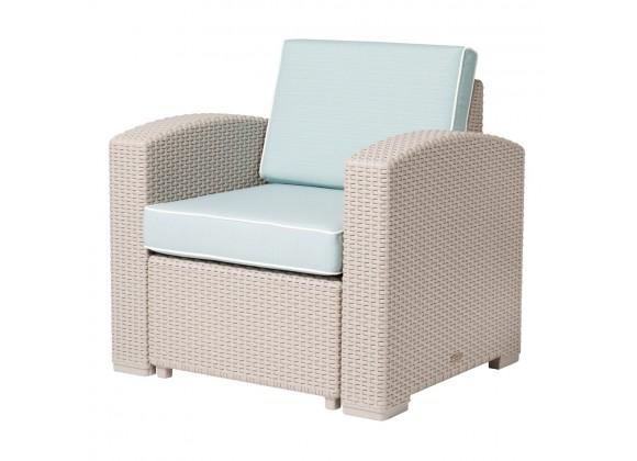 Lagoon Magnolia Grey Rattan Club Chair With Blue Cushion