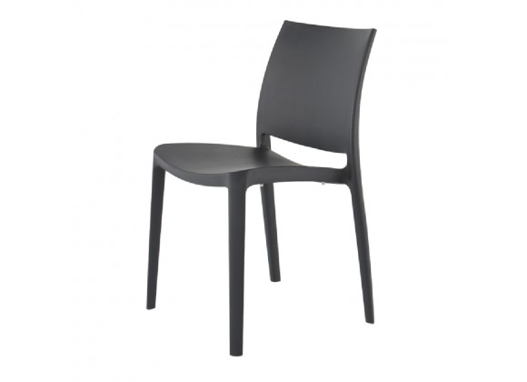 Sensilla Stack-able Dinning Chair - Dark Grey - Angled