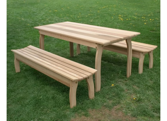 """58"""" x 32"""" Cedar Three Piece Family Dining Set with (2) 58""""/70""""/94"""" Benches"""