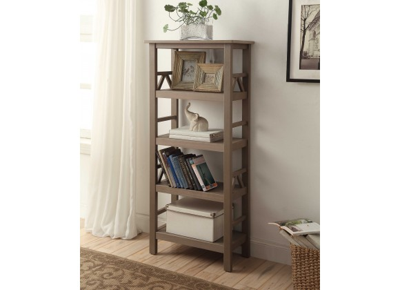 Linon Home Decor Titian Rustic Gray Bookcase