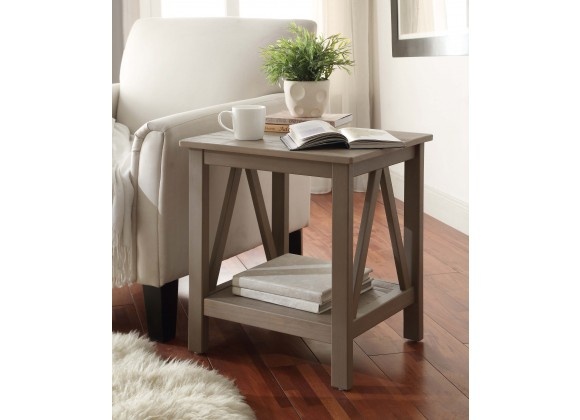 Linon Home Decor Titian Rustic Gray End Table