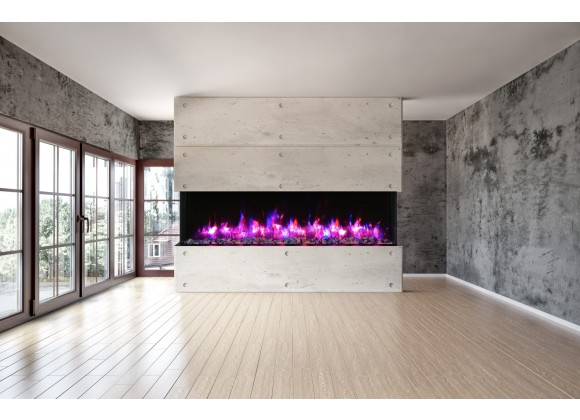 "Amantii 88"" Unit - 14 1/4"" In Depth 3 Sided Glass Fireplace"