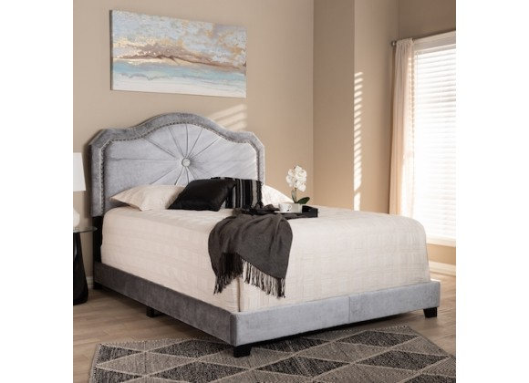 Baxton Studio Embla Velvet Upholstered Bed