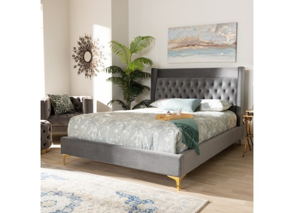 Baxton Studio Valery Upholstered Platform Bed - Dark Grey