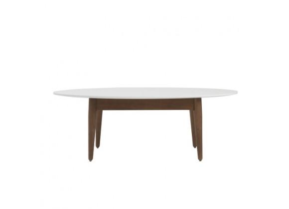 EuroStyle Manon Oval Coffee Table - White/Dark Walnut