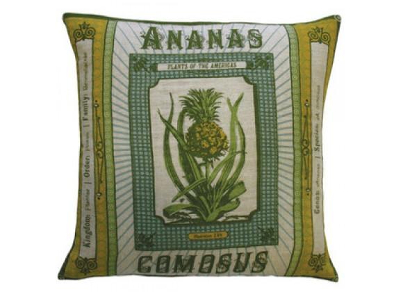 """Koko Company Botanica 20"""" x 20"""" Linen Pillow with Ananas Comosus Print"""