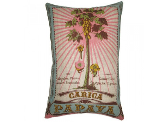"Koko Company Botanica 13"" x 20"" Linen Pillow with Carica Papaya Print"