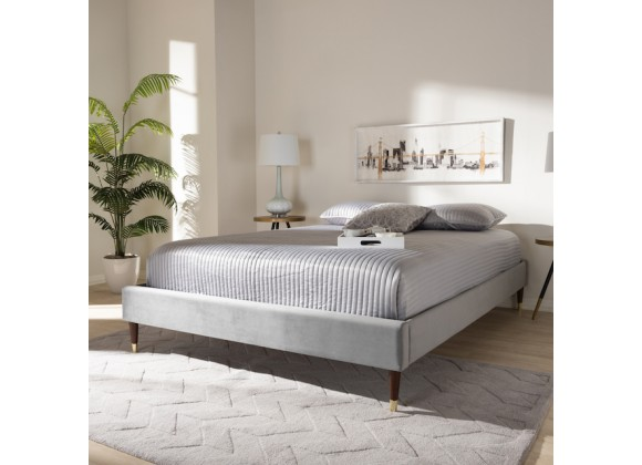 Baxton Studio Volden Queen Size Platform Bed Frame - Dark Grey