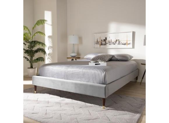 Baxton Studio Volden King Size Platform Bed Frame - Dark Grey