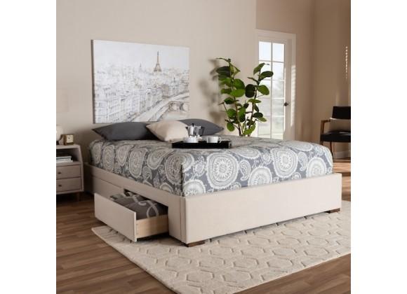 Baxton Studio Leni Upholstered Platform Storage Bed Frame - Beige