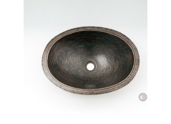 Ambiente 19-Inch Copper Handmade Bathroom Oval Plain Sink