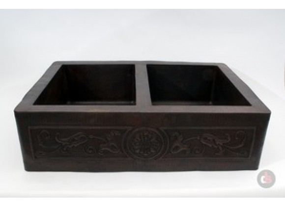 Ambiente 33-Inch Copper Handmade Kitchen Farmhouse Double Well Flowers Sink