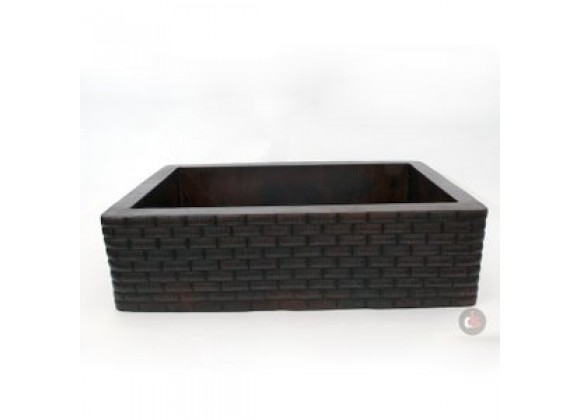 Ambiente 33-Inch Copper Handmade Kitchen Farmhouse Single Well Large Bricks Sink